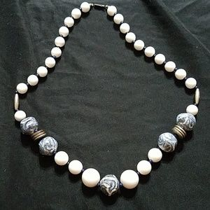 Blue and white statement necklace